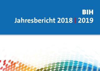 Cover BIH-Jahresbericht 2018/19. Grafische Elemente.